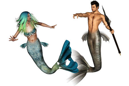 poseidon and his mermaid girl - isolated on white