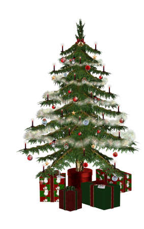a beautiful Christmas tree with gifts - isolated on white photo