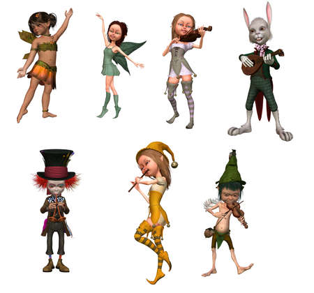 Fairy tale characters in music and dance - isolated on white