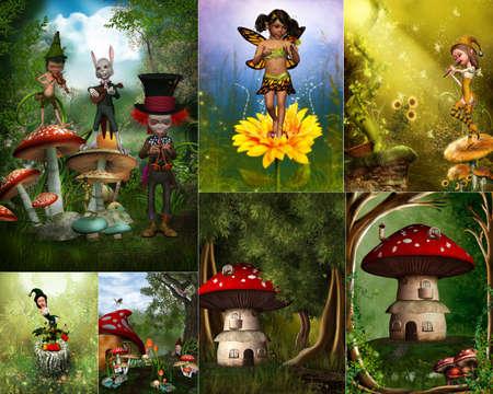 enano: un Collage de im�genes del mundo de ensue�o de cuento de hadas