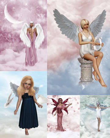 a Collage of dreamy guardian angel images photo