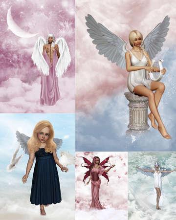 angelo custode: un Collage di immagini di sognante angelo custode