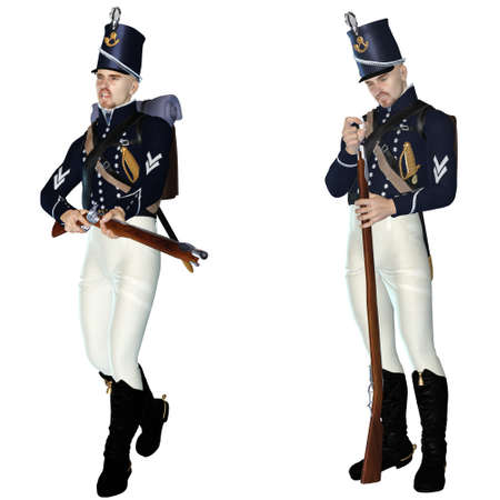revolutionary war: soldier of olden times - isolated on white