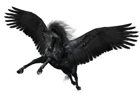 pegaso: un poderoso Pegasus vuelo - aislados en blanco