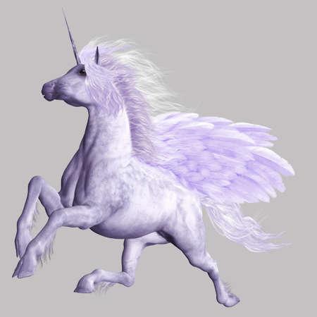 pegaso: un poderoso Pegasus vuelo - aislados en gris