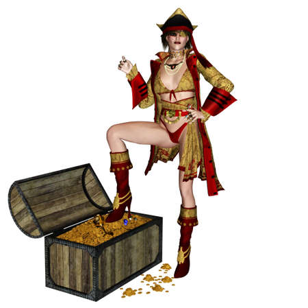 female pirate: a dangerous pirate women - isolated on white