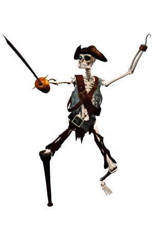 privateer: a evil skeleton pirate - isolated on white