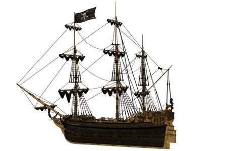 galleon: a dangerous Pirate Ship - isolated on white Stock Photo