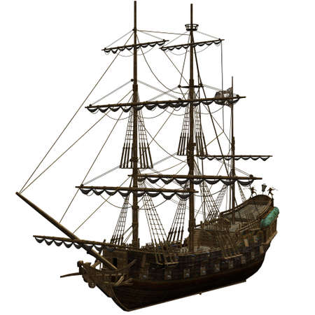 warship: a dangerous Pirate Ship - isolated on white Stock Photo