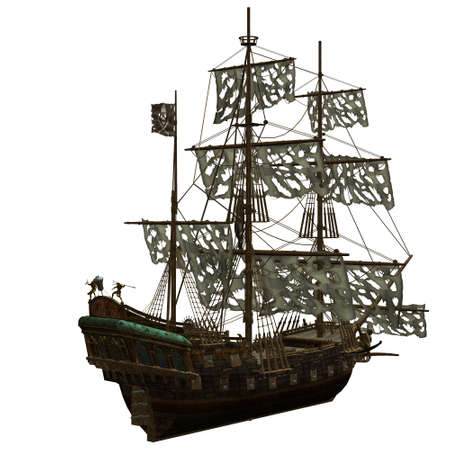 pirate ship: a dangerous Pirate Ship - isolated on white Stock Photo
