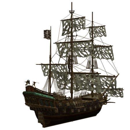 drapeau pirate: un bateau Pirate dangereux - isol� sur fond blanc