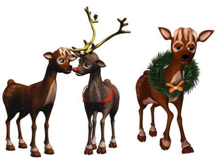 rudolph and rhonda, santas reindeer - isolated on white photo