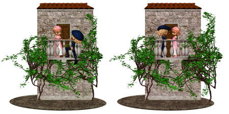shakespearean: Romeo and Juliet from shakespeare - isolated on white