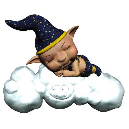 good night: the sandman sleep on the cloud - isolated on white