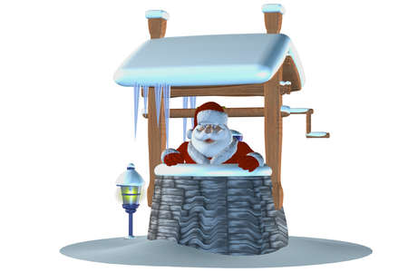 santa claus in the fountain - isolated on white Stock Photo - 9269910