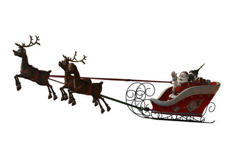 Santa Claus is flying with his reindeer - isolated on white Stock Photo
