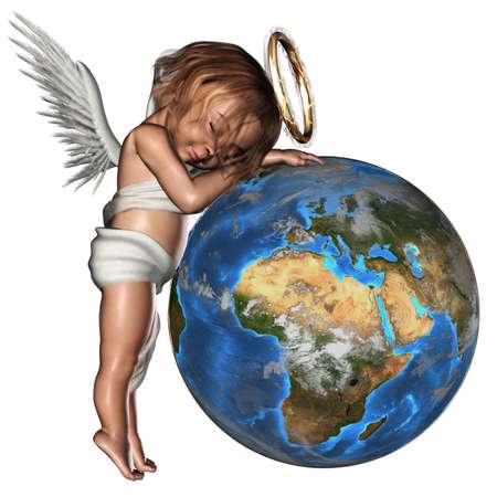 perdonar: Un lindo Angel dormido - aislado en blanco Foto de archivo