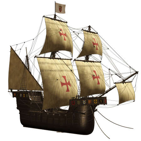 caravel: a woundful old ship - isolated on white