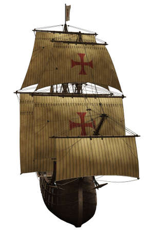 a woundful old ship - isolated on white