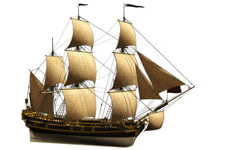 caravelle: un vieux bateau woundful - isol� sur fond blanc Banque d'images