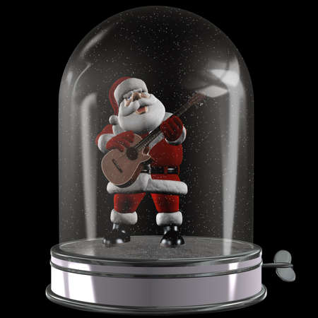 a singing Santa in the Music Box - isolated on black photo