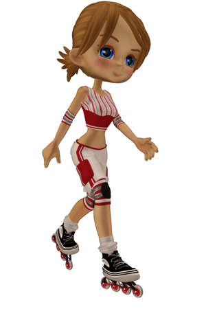 roller blade: a cute skater girl - isolated on white