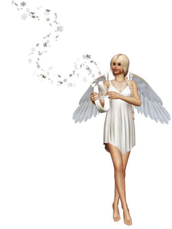 An angel plays a harp - isolated on white