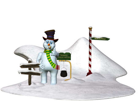 northpole: a funny snowman scene - isolated on white Stock Photo