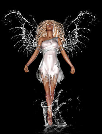 a beautiful water angel - isolated on black