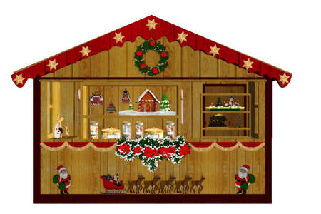 a decorated Christmas market - isolated on white Stock Photo - 9269992