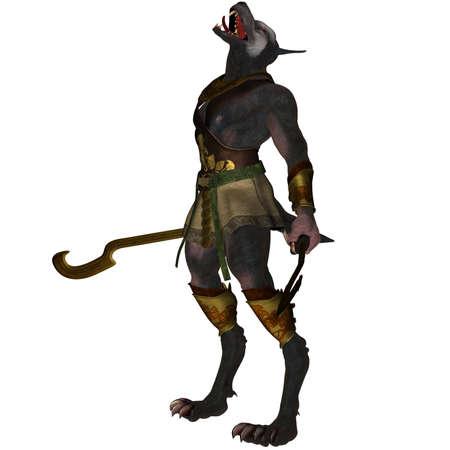 loup garou: Un loup-garou scary mena�ante - isol� sur fond blanc Banque d'images