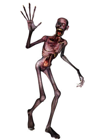 a rotten zombie in pose - isolated on white Stock Photo
