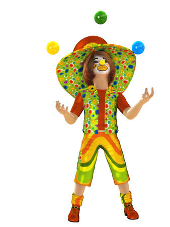 a cheerful clown in a cap and juggling balls Stock Photo