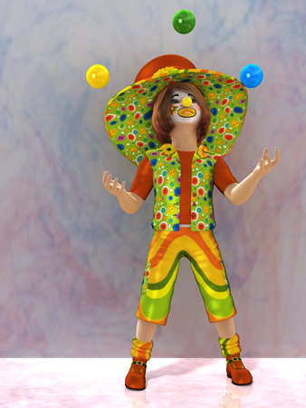 a cheerful clown in a cap and juggling balls photo