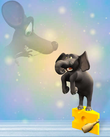 A cartoon elephant has a nightmare of a huge spirits mouse - the elephant stands on a piece of cheese Stock Photo - 10767125