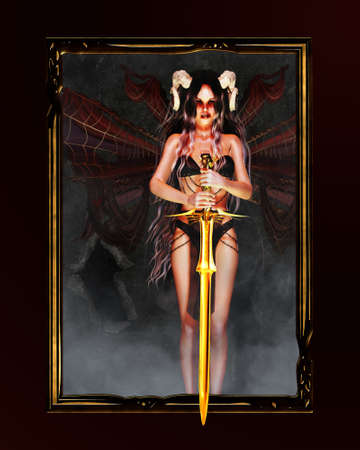 a fallen angel with horns and wings keep a golden sword