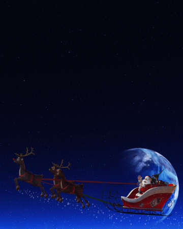 Santa Claus is flying in his sleigh and his reindeer in the night the moon is shining photo