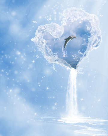 waterdrop: a dolphin jumping in the heart of the ocean. Stock Photo