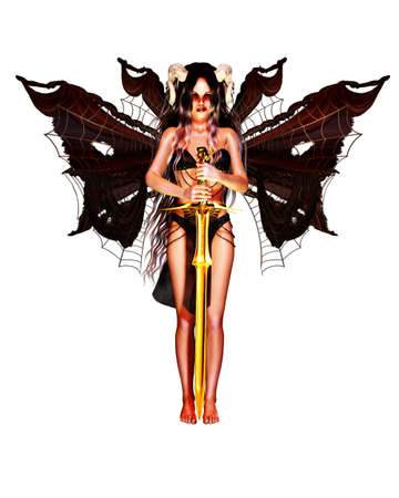 a fallen angel with horns and wings keep a golden sword photo