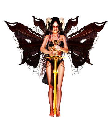 fallen angel: a fallen angel with horns and wings keep a golden sword