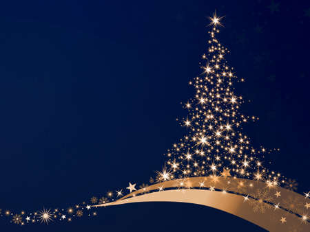 golden christmas tree of stars on a blue background Stock Photo