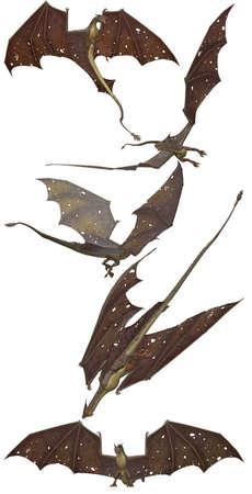 the dragons: fant�stica de vuelo marr�n dragones - aislados en blanco Foto de archivo