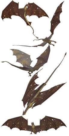 fantastic flying brown dragons - isolated on white Stock Photo