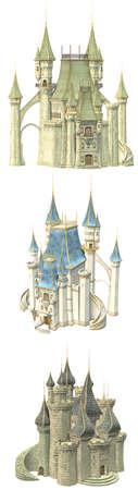 castillo medieval: 3 wounderful castillo de cuento de hadas - aislados en blanco