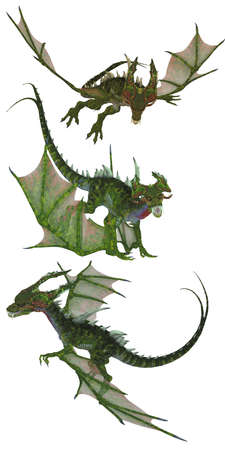 fantastic flying green dragons - isolated on white Stock Photo