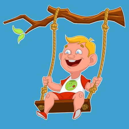 columpio: Niño en un columpio. Ilustración vectorial Vectores