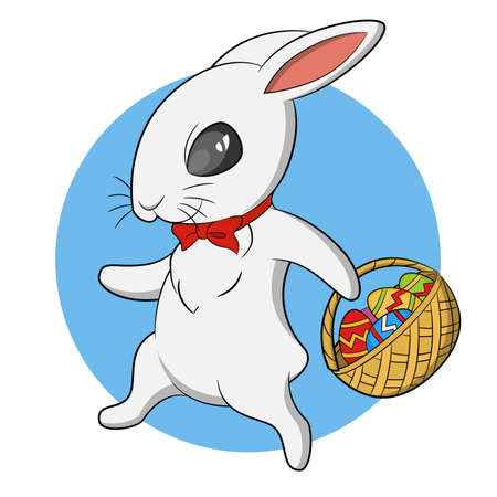 Easter Bunny with basket of eggs. Vector illustration. Illusztráció