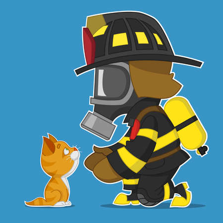 Firefighter rescues kitten.