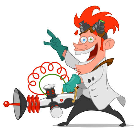 crazy: Mad scientist with laser. Vector illustration.
