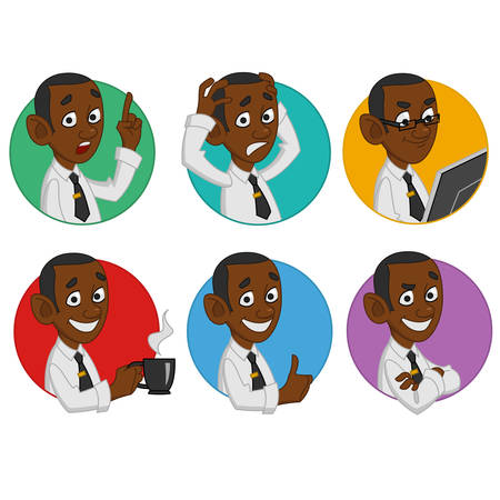 neckband: Avatars of office worker. Vector Illustration